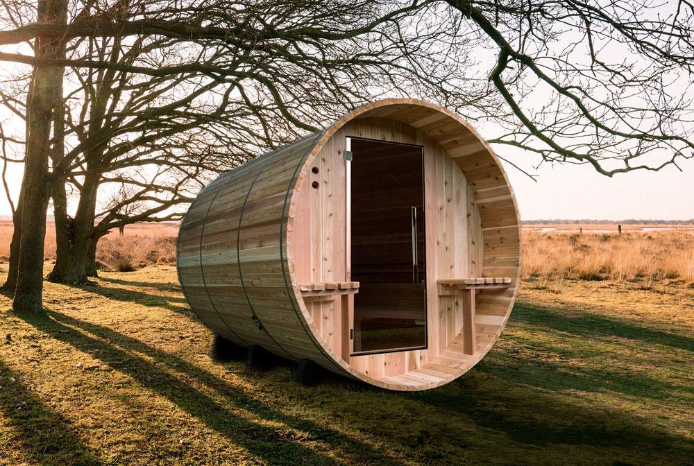 Vista di una sauna tradizionale all'interno di giardino casa